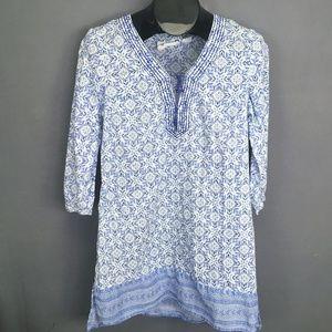 LOGG H&M Top Shirt Size 10 Blue White Womens Tunic